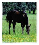Grazing Horse In The Flowers Fleece Blanket