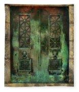 Green Doors Fleece Blanket