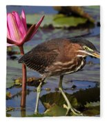 Green Heron Photo Fleece Blanket