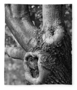 Growth On The Survivor Tree In Black And White Fleece Blanket