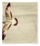 Herring Gull In Flight Fleece Blanket