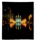 Historic Temple And Square In Salt Lake Fleece Blanket