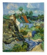 Houses At Auvers Fleece Blanket