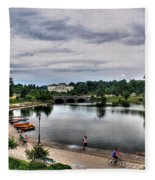 Hoyt Lake Delaware Park 0004 Fleece Blanket