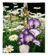 Iris And Daisies Fleece Blanket