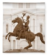 Jackson Square Statue In Sepia Fleece Blanket