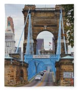John Roebling Bridge 1867 Fleece Blanket
