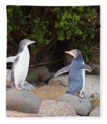 Juvenile Nz Yellow-eyed Penguins Or Hoiho On Shore Fleece Blanket