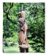 Lady At The Fountain Fleece Blanket