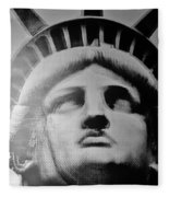 Lady Liberty In Black And White Fleece Blanket