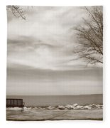 Lake And Park Bench Fleece Blanket