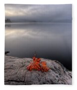 Lake In Autumn Sunrise Reflection Fleece Blanket