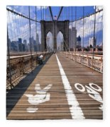Lanes For Pedestrian And Bicycle Traffic On The Brooklyn Bridge Fleece Blanket