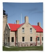 Lighthouse - Mackinac Point Michigan Fleece Blanket