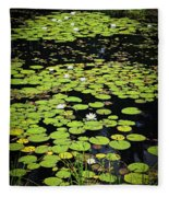 Lily Pads On Dark Water Fleece Blanket