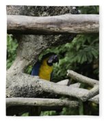 2 Macaws Framed By Tree Branches Inside The Jurong Bird Park Fleece Blanket