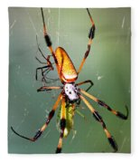 Male And Female Silk Spiders With Prey Fleece Blanket