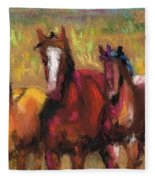 Mares And Foals Fleece Blanket