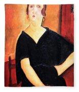 Modigliani's Madame Amedee -- Woman With Cigarette Fleece Blanket