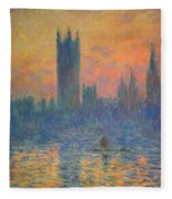 Monet's The Houses Of Parliament At Sunset Fleece Blanket