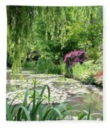 Monets Waterlily Pond Fleece Blanket