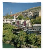 Mostar In Bosnia Herzegovina Fleece Blanket