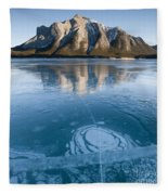 Mt. Michener And Ice On Abraham Lake Fleece Blanket