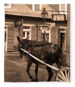 New Orleans - Bourbon Street Horse 3 Fleece Blanket