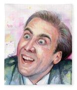 Nicolas Cage You Don't Say Watercolor Portrait Fleece Blanket