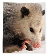 North American Opossum In Winter Fleece Blanket