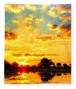 Okavango Delta Sunset Fleece Blanket