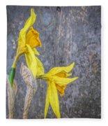 2 Old Daffodils Fleece Blanket