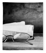 Old Glasses On Desk Fleece Blanket