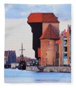 Old Port Crane In Gdansk Fleece Blanket