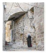 Old Town Street In Jerusalem Israel Fleece Blanket