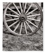 Old Wagon Wheel On Cart Fleece Blanket