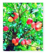 Orange Trees With Fruits On Plantation Fleece Blanket
