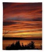 Outer Banks Sunset Over Bay And Colington Island Fleece Blanket