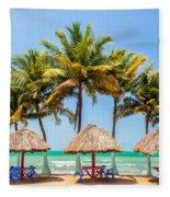 Palm Trees And Sea Fleece Blanket