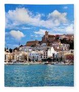 Panorama Of Ibiza Spain Fleece Blanket