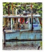 Pelican And Fishing Boat Fleece Blanket