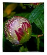 Peony With Rain Drops Fleece Blanket