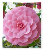 Pink Camellia Square Fleece Blanket
