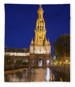 Plaza De Espana Tower In Seville Fleece Blanket