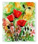Poppy Lawn Fleece Blanket