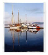 Port Orchard Marina Reflections Fleece Blanket