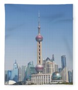 Pudong Skyline In Shanghai China Fleece Blanket