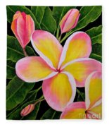 Rainbow Plumeria Fleece Blanket