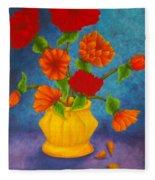 Red And Orange Flowers Fleece Blanket