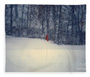 Red Flag On The Snow Covered Golf Course Fleece Blanket